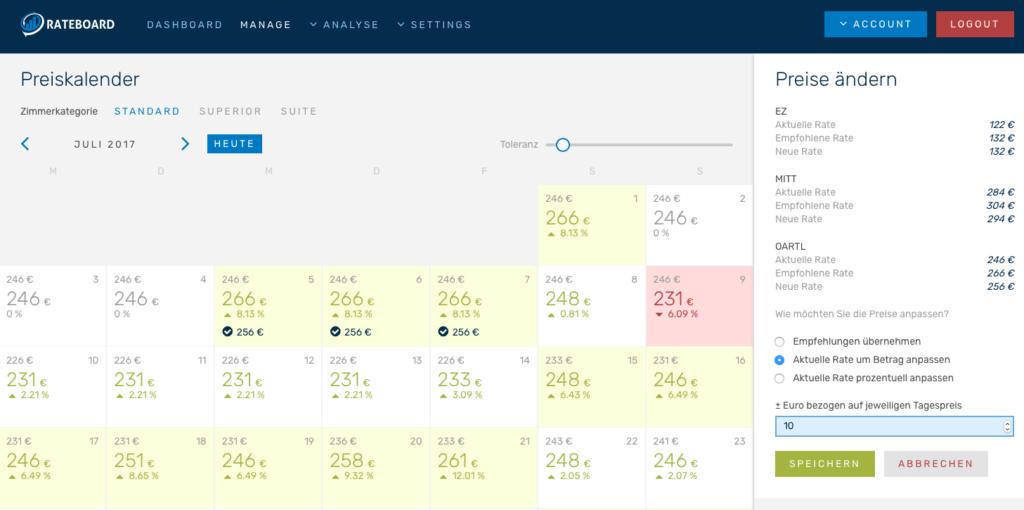 Preisempfehlungen von RateBoard im Preiskalender ©RateBoard GmbH